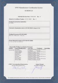 Certificate EWF EN ISO 3834 Part 2 (Doc. EWF 636 -Part 1)